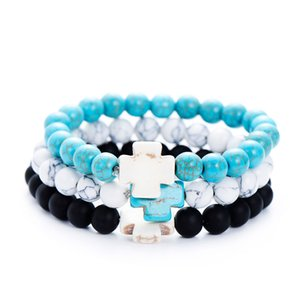 Wholesale Trendy Natural White Blue Cross Bracelets For Women Fashion Charms Friendship Bracelet Jewelry Gifts pulseira masculina