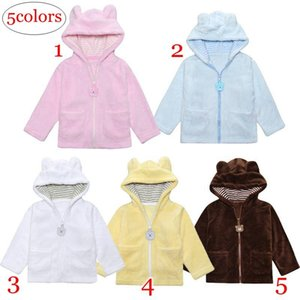 Wholesale Retail Infant Bear warm Coats Baby Ears design Coral velvet Jackets Clothing Autumn Winter Outwear Children Cardigan Hoodie colors