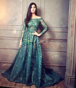 Wholesale New Luxury Ziad Nakad Emerald Crystal Beaded Evening Pageant Dresses Modest Illusion Long Sleeve Arabic Dubai Prom Gowns Zuhair Murad DH4129