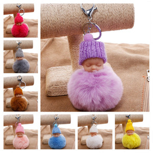 Wholesale pompom keychain faux fur resale online - Faux Fur Pom Pom Keychain Sweet Sleeping Baby Car Key Chain Knitted Hat Baby Doll Pompom Fluffy Keyring Toy Promotional Gifts