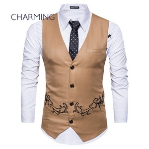 Wholesale Khaki vest mens Fashion embroidery design Sleeveless vests mens tan vests Men s V neck vest vest mens