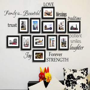 Wholesale black Set of family words wall decor Vinyl Wall Stickers Picture Frame Family Wall Decals Room Art Decoration