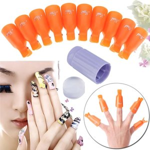 Wholesale 10 Fahion Plastic Nail Art UV Gel Polish Remover Soak Off Cap Clip Wrap Jelly Nail Art Stamper