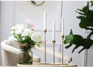 Wholesale Creative Dining Table Soft Furnishing Decoration Personality Gold Candlestick Decorations Iron Candle Holder Simple Romantic and Personality