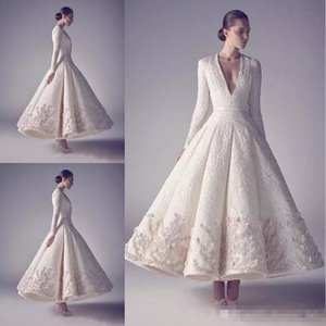 Wholesale Ashi Studio Evening Prom Dresses Pure White 2017 Hot Sale Long Sleeve Deep V Neck Lace Beading Appliqued tea-length occasion dress