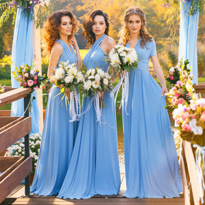 Wholesale Jersey Convertible Bridesmaid Dresses Halter Custom Made Blue Maxi Boho Infinity Floor Length Sleeveless Multiway Dress