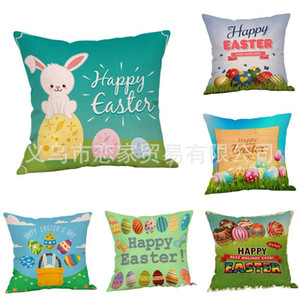 Wholesale Flax Pillowslip Easter Egg Pillow Case Lovely Rabbit Cushion Cover Sofa Bed Home Decor Many Styles lj C