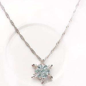 Fashion Jewelry Blue Crystal Snowflake Frozen Flower 925 Silver Necklace Pendant Chain Sweet Style Wild spring and summer style