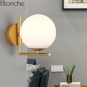 Wholesale Modern Nordic Glass Ball Wall Lamps Bedroom Gold Led Wall Sconce Mirror Light Fixture Industrial Lamp for Home Loft Decor E27