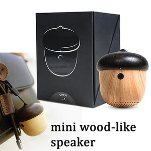 Wholesale mini wooden nut style wireless bluetooth speaker portable hongable subwoofer super bass player with build in microphone factory price