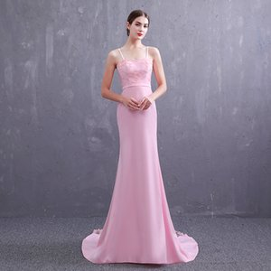 Wholesale Hot Sale! New pattern 2019 Simple Pink girl Strapless A-line Prom Dress Lace Floor Length Formal Gown Dresses