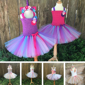 Wholesale INS Girls Summer U n i c o r n Dresses kids Rainbow Clouds Casual Dress Princess dresses party dress Children Clothing A