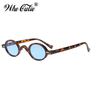 Wholesale WHO CUTIE Gothic Oval Sunglasses Women Men Brand Designer Vintage Tortoiseshell Frame Blue Sunnies Sun Glasses Shades