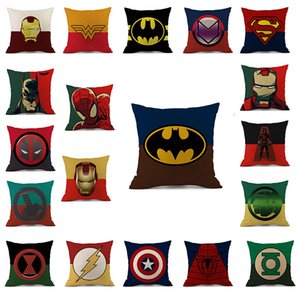 Wholesale Superhero Avengers cushion case cartoon pillow case Hulk Deadpool iron Man Print Cushion Cover linen Pillow Cover Cartoon Home TextilesC4715