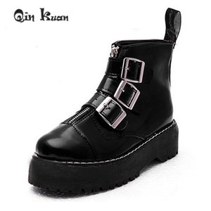 Wholesale Qin Kuan Women British Style Martin Boots Lady Belt Buckle Ankle Boots Girl Zipper Platform Ankle Motorcycle Shoes