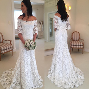 Wholesale Fashion Spring Autumn Bohemian Lace Mermaid Wedding Dresses New Off Shoulder Zipper Back Bridal Gowns Plus Size Boho Robe de soriee