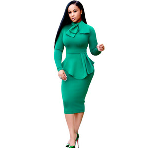 Wholesale Women Winter Elegant Front Zip Up Pleated Ruched Peplum Long Sleeve Wear to Work Office Business Party Sheath Dress Plus Size Bodycon Dress