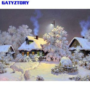 Wholesale GATYZTORY Snow Landscape Diy Painting By Numbers Digital Calligraphy Painting Hand Painted Wall Art Picture For Home Decor x50