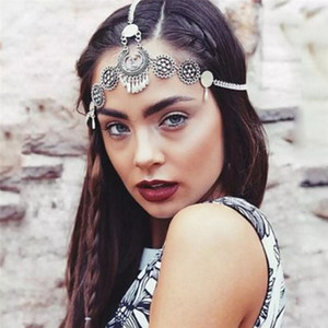 Wholesale Boho Vintage Silver Metal Braided Festival Headband Flower Headwear India Ethnic Head Chain Forehead Hair Jewelry For Women Girl