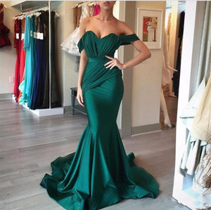 Wholesale 2018 Modest Off the Shoulder Emerald Green Prom Dresses Mermaid Champagne Sweep Train Ruched Evening Gowns for Women Formal Occasion Dress