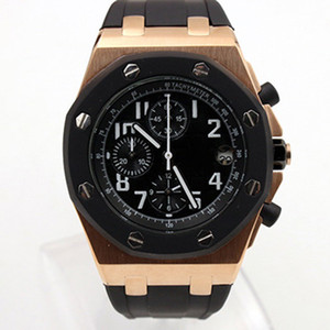 Wholesale Royal Oak Offshore Chronograph Stop Watch Clad Ginza Rose Gold Case Black Dial Leather Strap Quartz Mens Watches Wristwatch