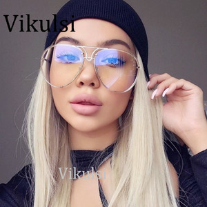 Luxury Rimless Clear Lens Aviation Sunglasses Women Men Brand Designer Big Mirror Pilot Sun Glasses For Driving Oversize Shades