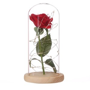 Wholesale Christmas DIY Dustproof Living Room Table Flower Glass Cover Living Flowers Base Glass Vase with Wooden Base Home Decoration Handicraft