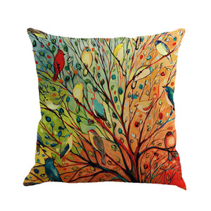 Cushion covers Hand-painted oil paintings: leaves, branches, branches, birds Cotton and linen pillowcase office pillow case size 45cm*45cm