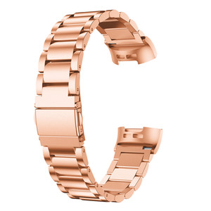 Bakeey for Fitbit Charge 3 Watch Strap Replacement Band Men Women Fashion Stainless Steel Metal Bracelet Rose Gold Black Silver