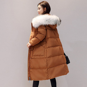 Wholesale White Duck Down Jacket Women Winter Feather Coat Long Fur Collar Hooded Parkas Slim Thick Warm Outerwear Duck Down coat