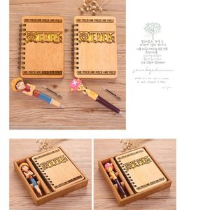 Wholesale One Piece Anime NotWith Pen Set Luffy Chopper Wooden Diary Day Book Journal Stationery School Supplies Gifts For Kids cm