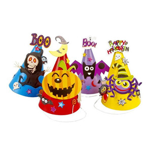 hexe partei liefert großhandel-Halloween Cartoon Caps Papier Hexe Hut Kürbis Spinne Fledermaus Skelett Cosplay Kostüm Party Supplies Kinder Geschenke mit opp Tasche