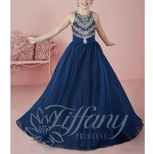 Wholesale Navy Blue Beads Crystal Scoop Little Girls Party Pageant Dresses Tutu Newest Beading Flower Girls Dresses Chiffon First Communion Dress