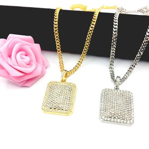 Wholesale Mens Hip Hop Chain Fashion Jewelry Full Rhinestone Pendant Necklaces Gold Filled Zodiac Jewelry Men Cuban Chain Necklace Dog Tag