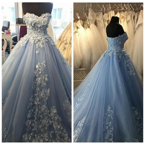 Wholesale Sweetheart D Flowers Lace Appliques A Line Quinceanera Dresses Lace Up Back Custom Online Vestidos De Quinceanera Prom Gowns Ages