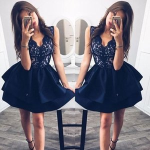 Wholesale Sexy Black Short Evening Dresses V Neck Top Lace Holiday Satin Prom Gowns Aline Special Occasion Club Chic Cocktail Party Dresses 2019