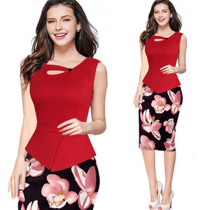 Wholesale 2018 New Print Flora Casual Work Patchwork Bodycon Summer Office Dresses Plus Size Women Clothing Fitted Elegant Pencil Dresses