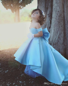 Wholesale Baby Blue Girls Pageant Gowns Off The Shoulder Satin High Low Flower Girl Dresses For Wedding Big Bow Children Birthday Party Dress