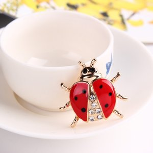 Wholesale High grade hand dripping oil insect, brooch, Korean version, fashionable ladybug, alloy, drill, brooch needle.