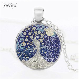 Wholesale SUTEYI Charms Colorful Peacock Picture Necklace Tree Of Life Glass High Quality Pendant Animal Long Necklaces For Women Handmade Jewelry