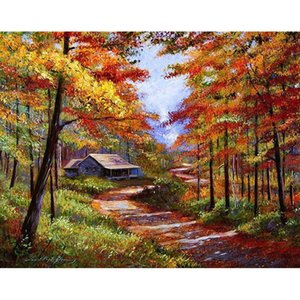 Wholesale landscapes autumn paintings resale online - Frameless Autumn Landscape Diy Painting By Numbers Modern Wall Art Canvas Painting Unique Gft For Home Decoration x50cm