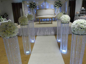Wholesale party venues resale online - New cm inch height gold silver Wedding walk way flower stand stage venue arylic crystal column pillar for wedding party decoration