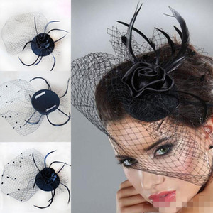 Wholesale 2017 Hot Cheap Bridal Veil Accessories White Black Feathers Hat Clip Accessories For Christmas Party Wedding Dresses Hair Wear