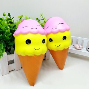 Wholesale 22cm cm cm Cone Ice Cream Squishy Giant Smile Face Torch Super Spft Slow Rising Jumbo Squeeze Stress Reliever Phone Charms STY035