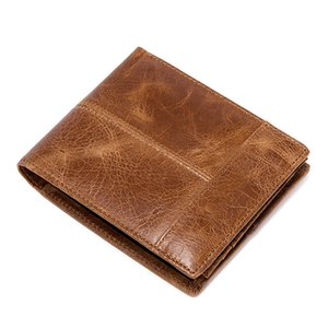 Factory Outlet Genuine Leather Men Wallet Short Soft Surface Stitch Leather Multi Card Men's Money Clips Solid Color Wallets