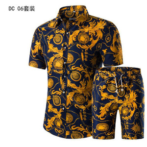 Wholesale Shirt set short sleeve shirt printed men s summer new mens clothing suit Single Breasted Button Fly Casual Full Cotton