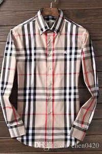 Wholesale 2018 American business brand self cultivation plaid shirt fashion designer brand long sleeved cotton casual shirt striped co dress shirt
