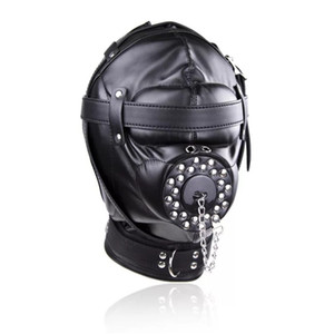 Wholesale sm gag mask for sale - Group buy Bondage Restraint Toys Headgear With Gag BDSM Erotic PU Leather Hood Adult Games Sex SM Mask For Couples C18111301