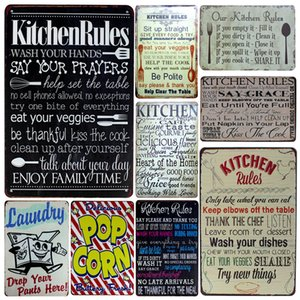 Wholesale inFour Kitchen Rules Metal Signs Family Rule Home Decor Vintage Tin Signs Pub Vintage Decorative Plates Metal Wall Art Plaques