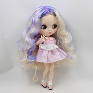 Wholesale blyth joint doll factory Dream new mixed color long curly hair without Bangs for girl present DIY white skin